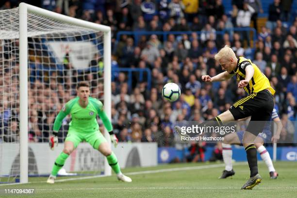 Will Hughes of Watford shoots over during the Premier League match between Chelsea FC and Watford FC at Stamford Bridge on May 05 2019 in London...
