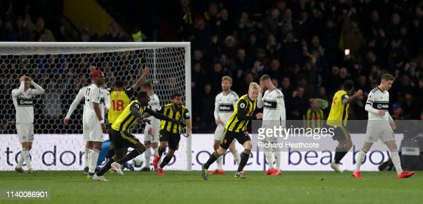 Will Hughes of Watford turns to celebrate after scoring the second goal during the Premier League match between Watford FC and Fulham FC at Vicarage...