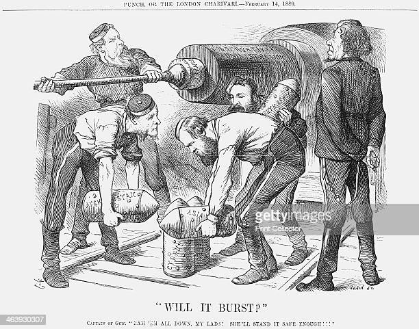 Will it Burst 1880 A gun labelled the 'Conservative Administration' is being loaded with shells representing the Conservatives foreign affairs South...
