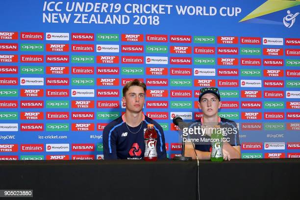 Will Jacks and Harry Brook of England speak to media at the press conference after the ICC U19 Cricket World Cup match between England and Namibia at...
