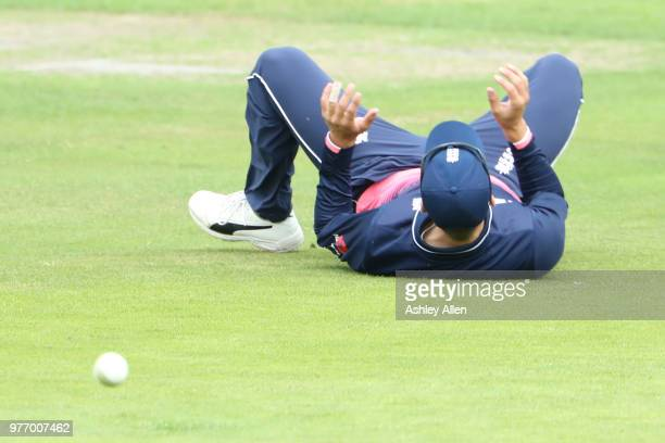 Will Jacks of ECB XI misfields during a tour match between ECB XI v India A at Headingley on June 17 2018 in Leeds England