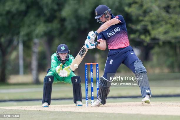Will Jacks of England bats during the ICC U19 Cricket World Cup Warm Up match between Ireland and England at Hagley Park on January 9 2018 in...