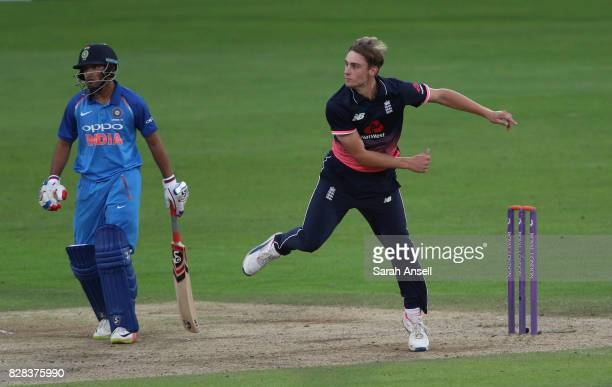 Will Jacks of England U19s bowls as Himanshu Rana of India U19s backs up during the match between England Under 19s and India U19s at The Spitfire...