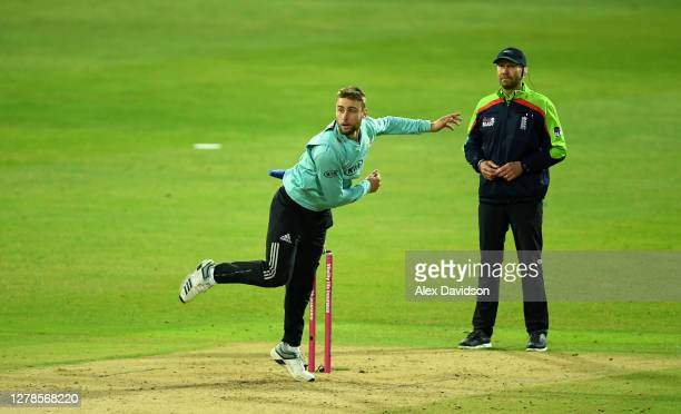 Will Jacks of Surrey bowls during the Vitality Blast 20 Final between Surrey and Notts Outlaws at Edgbaston on October 04 2020 in Birmingham England