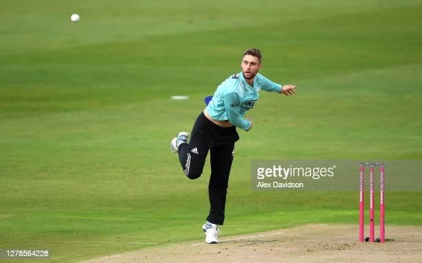 Will Jacks of Surrey bowls during the Vitality Blast 2020 Semi Final match between Surrey and Gloucestershire at Edgbaston on October 04 2020 in...