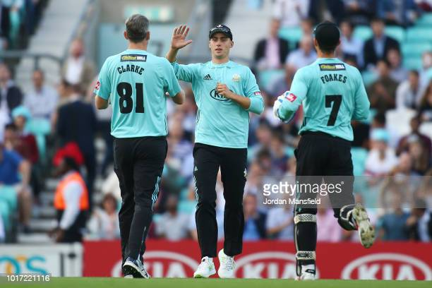 Will Jacks of Surrey celebrates celebrates dismissing Rilee Rossouw of Hampshire during the Vitality Blast match between Surrey and Hampshire at The...