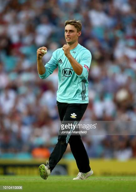 Will Jacks of Surrey celebrates dismissing Eoin Morgan of of Middlesex during the Vitality Blast match between Surrey and Middlesex at The Kia Oval...