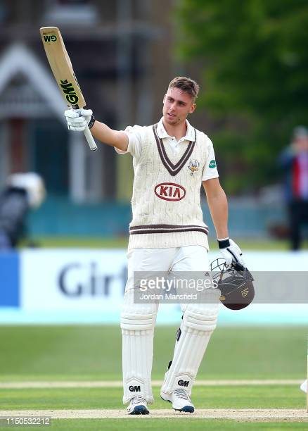 Will Jacks of Surrey celebrates his century during day one of the Specsavers County Championship Division One match between Kent and Surrey on May...