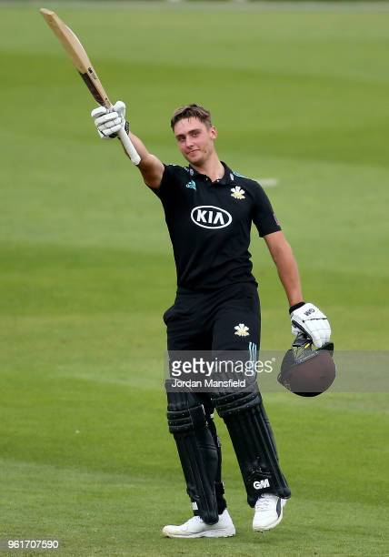 Will Jacks of Surrey celebrates his century during the Royal London OneDay Cup match between Surrey and Gloucestershire at The Kia Oval on May 23...