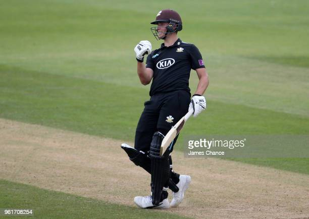 Will Jacks of Surrey celebrates scoirng 100 runs during the Royal London OneDay Cup match between Surrey and Gloucestershire at The Kia Oval on May...