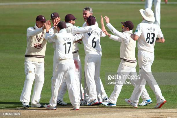 Will Jacks of Surrey celebrates with his teammates after catching out Alex Blake of Kent during day two of the Specsavers County Championship...