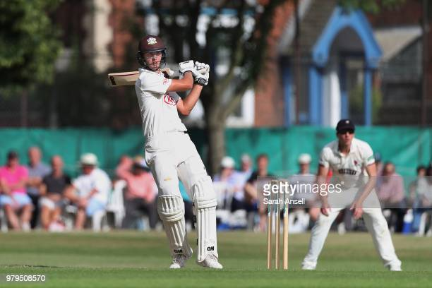 Will Jacks of Surrey hits out on his Championship debut during day 1 of the Specsavers County Championship Division One match between Surrey and...