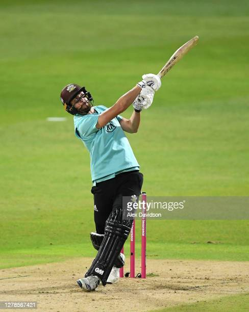 Will Jacks of Surrey hits runs during the Vitality Blast 20 Final between Surrey and Notts Outlaws at Edgbaston on October 04 2020 in Birmingham...