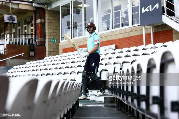 Will Jacks of Surrey makes his way to the field to open the batting during the Vitality T20 Blast match between Surrey and Essex Eagles at The Kia...