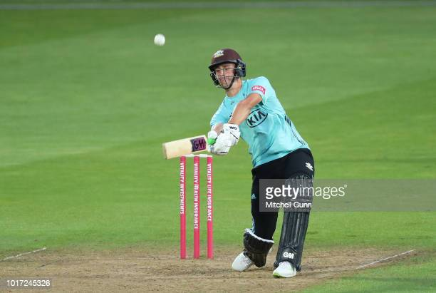Will Jacks of Surrey plays a shot and is caught out by Sam Northeast of Hampshire during the Vitality Blast T20 match between Surrey and Hampshire at...
