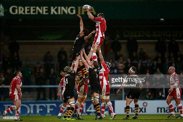 Will James of Gloucester wins a lineout during the Amlin Challenge Cup QuarterFinal between London Wasps and Gloucester at Adams Park on April 6 2014...