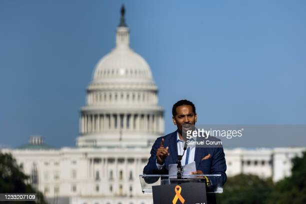 Will Jawando, a member of the Montgomery County Council, speaks during a rally on the National Mall on May 31, 2021 in Washington, DC. Members and...