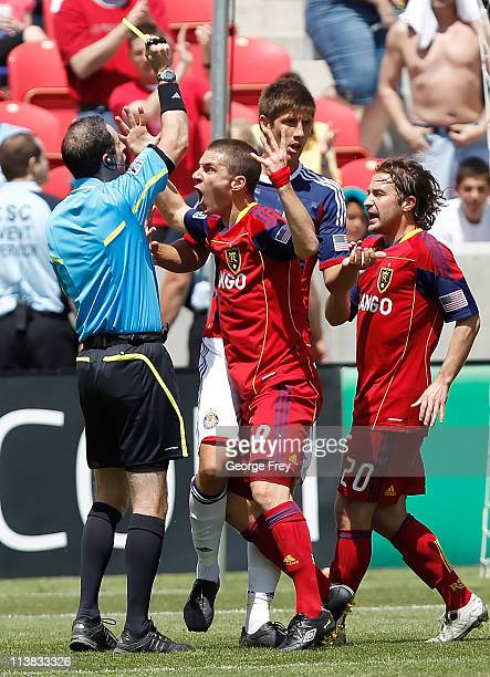 Will Johnson and Ned Grabavoy of Real Salt Lake argue with an official during a game against Chivas USA during the first half of an MLS soccer game...