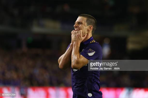 Will Johnson of Orlando City reacts during the MLS match between Atlanta United and Orlando City at Orlando City Stadium on July 21 2017 in Orlando...
