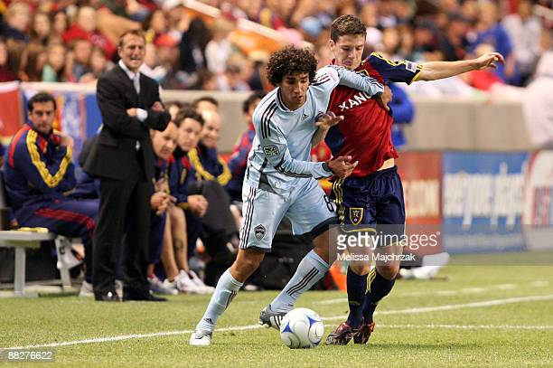 Will Johnson of Real Salt Lake goes after the ball against Mehdi Ballouchy of Colorado Rapids at Rio Tinto Stadium on June 06 2009 in Sandy Utah