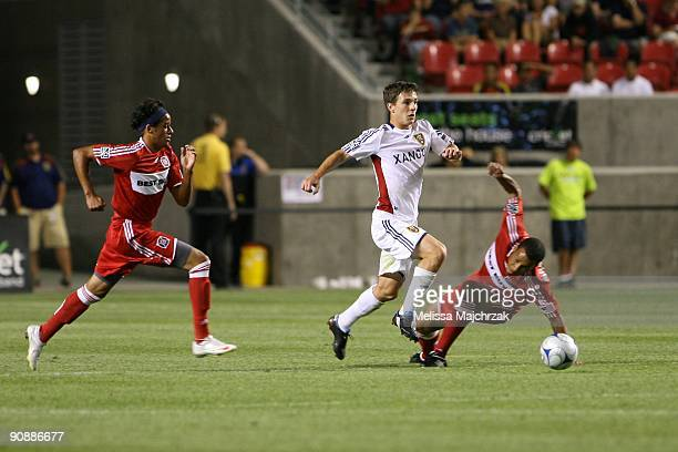 Will Johnson of Real Salt Lake goes after the ball against Mike Banner of Chicago Fire at Rio Tinto Stadium on September 12 2009 in Sandy Utah