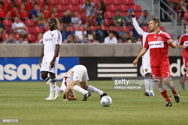 Will Johnson of Real Salt Lake goes down during a play against the Chicago Fire at Rio Tinto Stadium on September 12 2009 in Sandy Utah