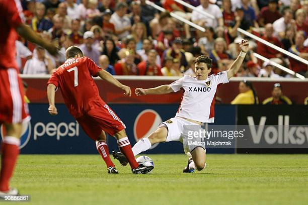 Will Johnson of Real Salt Lake goes down for the ball against Logan Pause of Chicago Fire at Rio Tinto Stadium on September 12 2009 in Sandy Utah