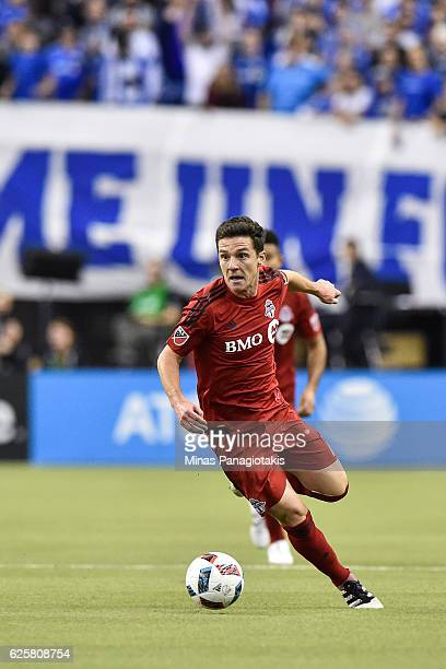 Will Johnson of the Toronto FC runs with the ball during leg one of the MLS Eastern Conference finals against the Montreal Impact at Olympic Stadium...