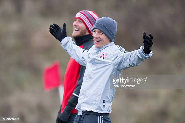 Will Johnson of Toronto FC reacts during Toronto FC's MLS Cup training session on December 8 at Kia Training Ground in Toronto ON Canada