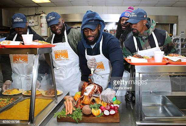 Will Johnson Owa Odighdizuwa Landon Collins and Tavares King appear to serve at Food Bank for New York City's Community Kitchen of West Harlem on...