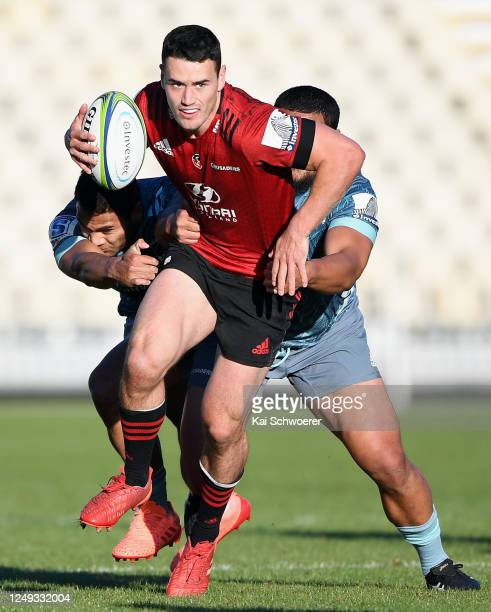 Will Jordan charges forward during the Crusaders practice match at Orangetheory Stadium on June 13, 2020 in Christchurch, New Zealand.