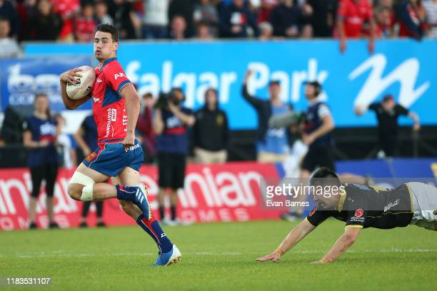 Will Jordan heads for the try line during the Mitre 10 Cup Premiership Final between Tasman and Wellington at Trafalgar Park on October 26 2019 in...