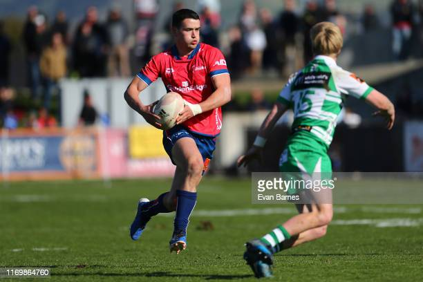Will Jordan makes a break during the round 3 Mitre 10 Cup match between Tasman and Manawatu at Lansdowne Park on August 24, 2019 in Auckland, New...