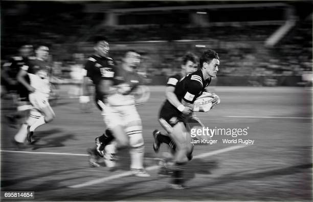Will Jordan of New Zealand is tackled short of the try line by Arthur Retiere of France during the World Rugby via Getty Images U20 Championship semi...