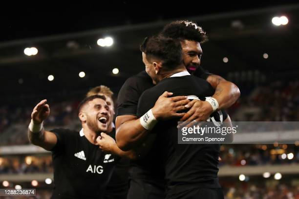 Will Jordan of the All Blacks celebrates after scoring a try during the 2020 Tri-Nations match between the Argentina Pumas and the New Zealand All...