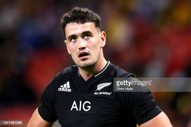 Will Jordan of the All Blacks looks on during The Rugby Championship match between the Argentina Pumas and the New Zealand All Blacks at Suncorp...