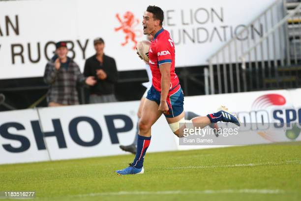 Will Jordan scores the winning try during the Mitre 10 Cup Premiership Final between Tasman and Wellington at Trafalgar Park on October 26 2019 in...
