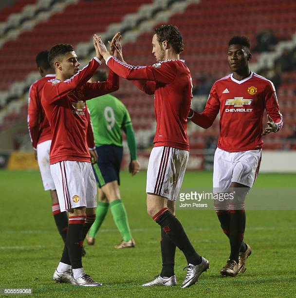 Will Keane of Manchester United U21s celebrates scoring their third goal during the Barclays U21 Premier League match between Manchester United U21s...