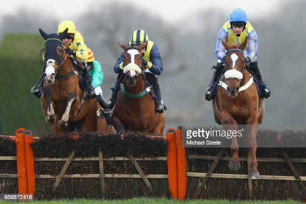 Will Kennedy riding Hills of Dubai clears from David England riding Billy Hicks during the Rockwool Novices' Handicap Hurdle race at Chepstow...