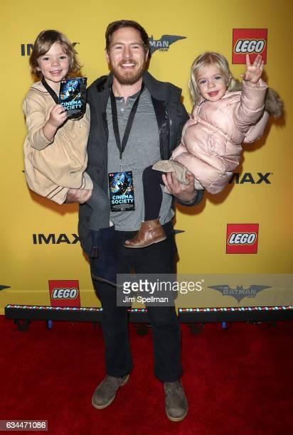 Will Kopelman with Olive Barrymore Kopelman and Frankie Barrymore Kopelman attend 'The Lego Batman Movie' New York screening at AMC Loews Lincoln...