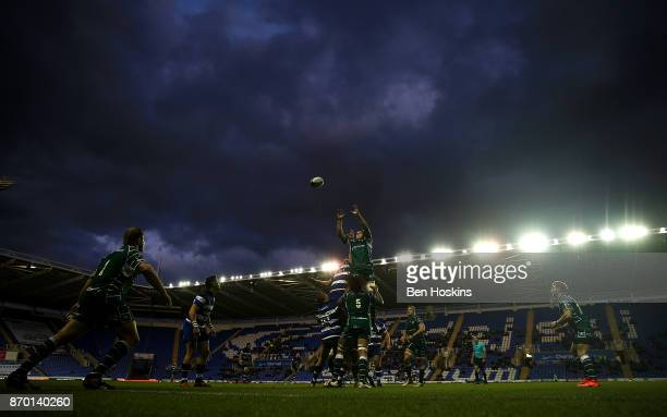 Will Lloyd of London Irish claims line out ball under pressure from Matt Garvey of Bath during the AngloWelsh Cup between London Irish and Bath at...