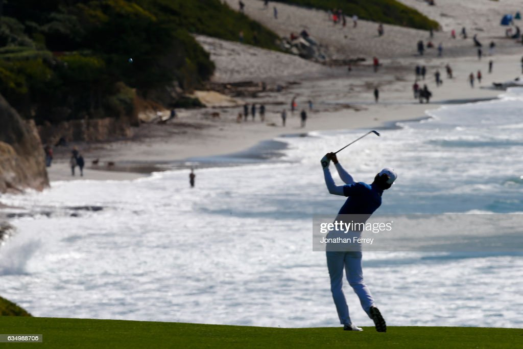 Will MacKenzie hits from the fairway on the ninth hole during the Final Round of the AT&T Pebble Beach Pro-Am at Pebble Beach Golf Links on February 12, 2017 in Pebble Beach, California.