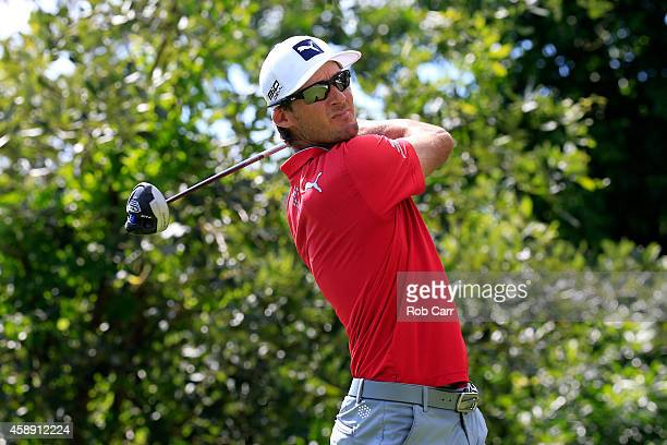 Will Mackenzie of the United States hits a tee shot on the 17th hole during the first round of the OHL Classic at Mayakoba on November 13 2014 in...