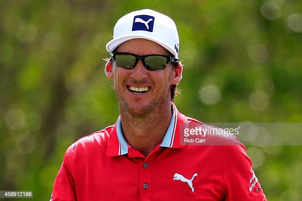 Will Mackenzie of the United States reacts after a putt on the 17th green during the first round of the OHL Classic at Mayakoba on November 13 2014...