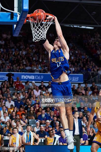 Will Magnay of the Bullets dunks the ball during the round 12 NBL match between the Brisbane Bullets and the Sydney Kings at Nissan Arena on December...