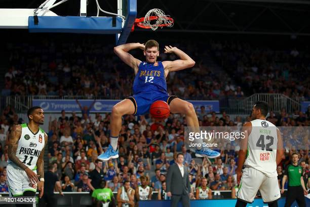 Will Magnay of the Bullets dunks the ball during the round 17 NBL match between the Brisbane Bullets and the South East Melbourne Phoenix at Nissan...