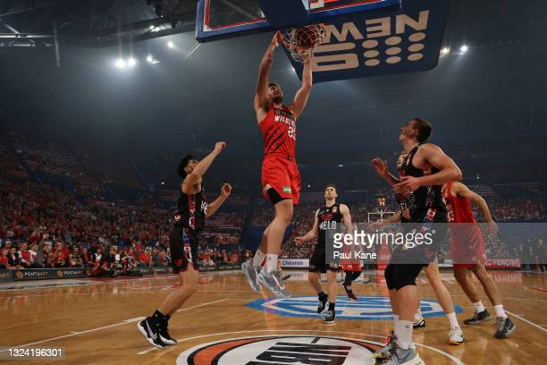 Will Magnay of the Wildcats dunks during game one of the NBL Grand Final Series between the Perth Wildcats and Melbourne United at RAC Arena, on June...