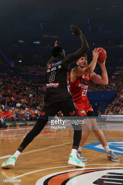 Will Magnay of the Wildcats goes to the basket against Jo Lual-Acuil of Melbourne United during game one of the NBL Grand Final Series between the...