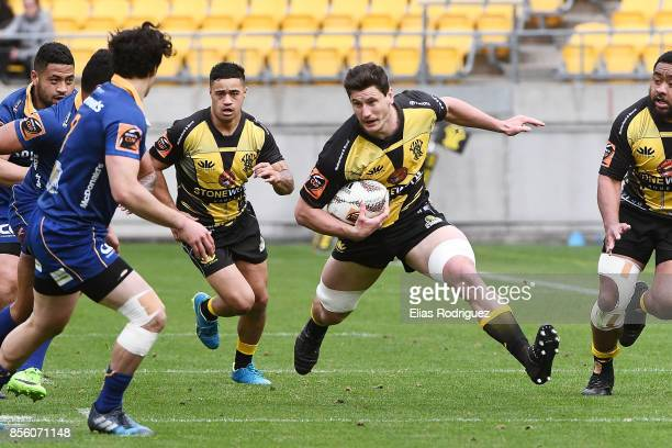 Will Mangos of Wellington looks to step past Jonathan Ruru of Otago during the round seven Mitre 10 Cup match between Wellington and Otago on October...