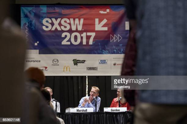 Will Marshall cofounder and chief executive officer at Planet Labs Inc speaks as Susan Gordon deputy director of the National Geospatial Intelligence...